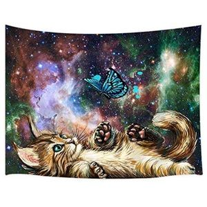 """Hippie Cat Wall Tapestry 60"""" x 40"""" New"""